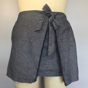 Merona Xavier Navy Stripe Fringe Tie Skirt Size L